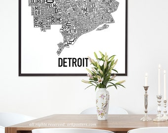 Detroit Typographic Neighborhood Map