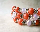 Coral and Pink Pearl Bracelet. Pink Opal Bracelet with Crystals + Soft Orange Pearls. Beaded Elastic Bracelet. Summer Bridesmaid Jewelry.
