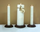 Wedding Lighting Ceremony Unity Candle Set and Wood Stand - Personalized