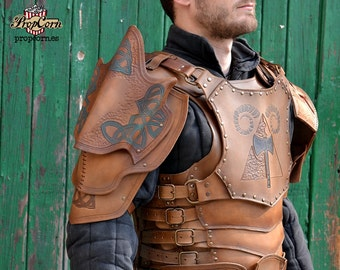 Full Set Leather Armor COMFORTABLE and COOL ARMOUR Celtic Role Playing Larp