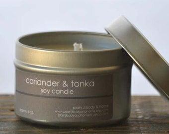 SALE - Coriander & Tonka Soy Candle Tin 4 oz. - coriander candle - tonka candle - sultry scent candle - spicy candle - unisex candle
