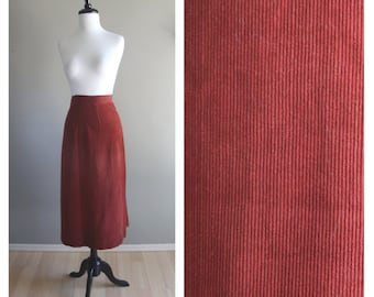 Copper Orange 1950s Corduroy Midcalf Fitted Pencil Skirt / 1960s Wiggle / Clay Red Orange