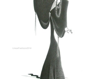 Original fashion illustration - Art Deco Gyspy