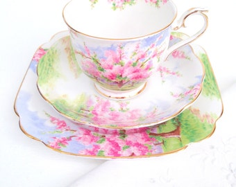 Vintage Royal Albert English Bone China Blossom Time Pattern Tea Cup, Saucer and Dessert Plate Trio Tea Party