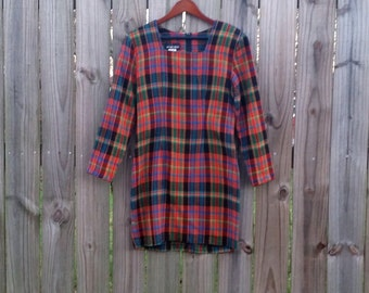 S M Small Medium Vintage 80s My Michelle Plaid Tartan Punk Preppy Heathers Style Long Sleeve Dress
