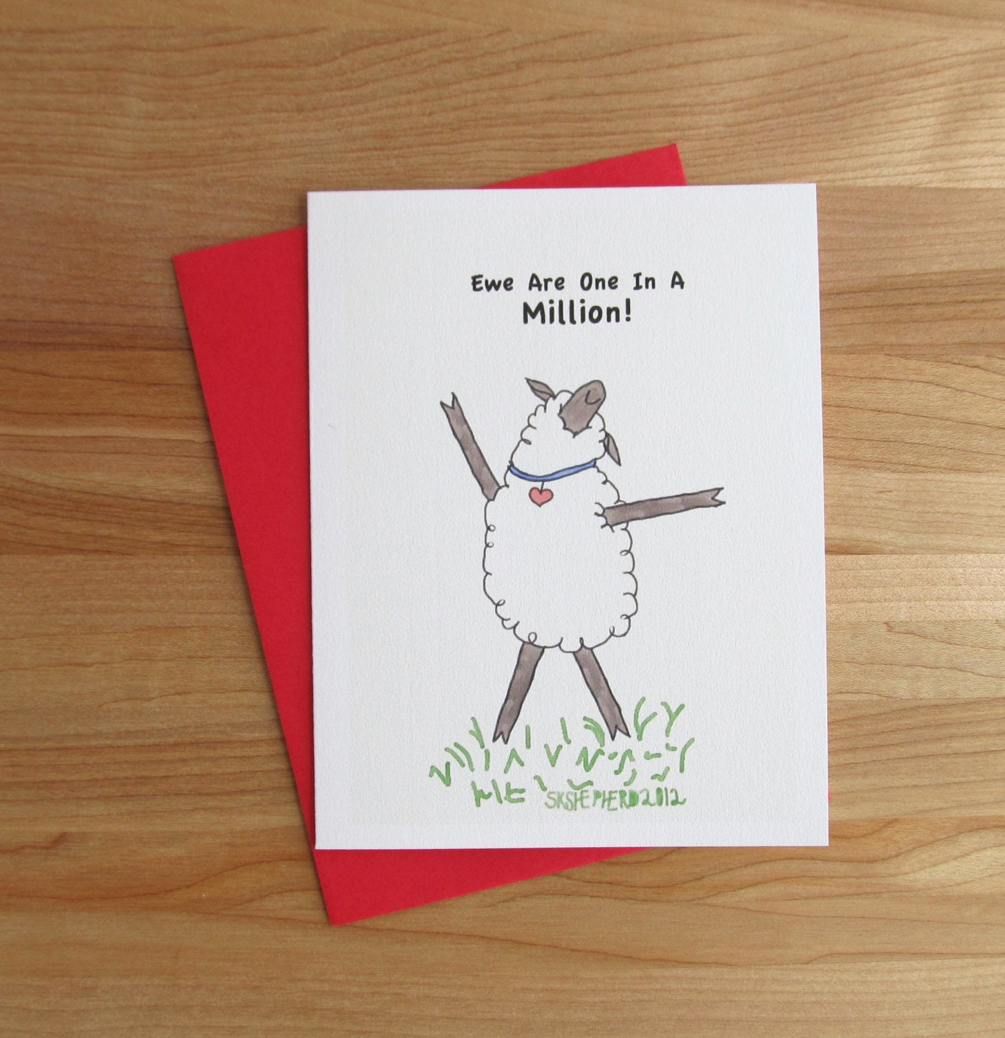 Knitting Puns List : Ewe are one in a million happy sheep card birthday