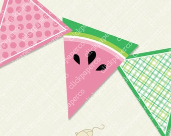 Watermelon Banner Happy Birthday Printable Digital Bunting Instant Download diy pdf party flag plaid dots summer juicy sweet