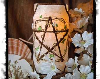 Pentangle-Of-Venus  Embroidered Candle Wrap For LED Flameless Pillar Candles.