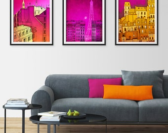 Any THREE Prints - Save 25%,Set of three Illustrations,Fine art Giclee print Home decor Wall art Living room decor Gift ideas for her,Wall