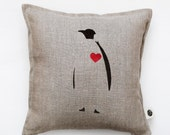 Decorative pillow cover with penguin print. Red heart on it. Penguin cushion cover. Throw pillow. Valentines day pillow gift   0153