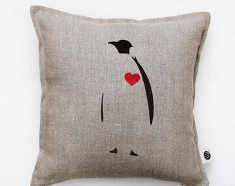 Penguin pillow  Decorative pillow cover with red heart on it Penguin cushion cover Throw pillow Valentines day pillow gift   0153