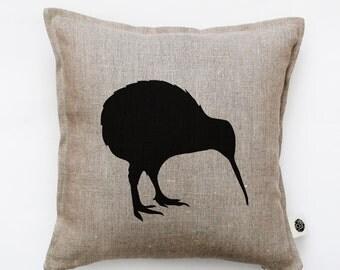 Kiwi bird pillow cover - decorative pillow - kiwi pillow - New Zealand national symbol print cushion - bird throw pillow  0138