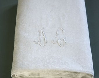 french vintage damask tablecloth, AG monogrammed