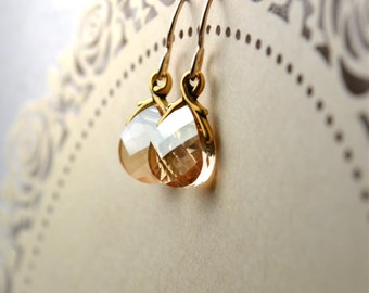 Swarovski Briolette Earrings, Gold Filled Earrings, Golden Shadow Swarovski Earrings, Wife Gift, Swarovski Jewelry, Crystal Drop Earrings UK