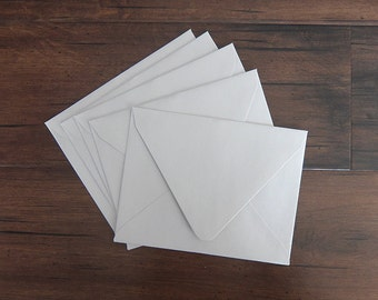 """A2 Pointed Flap Envelopes - Set of 10 - Silver SHIMMER - Fits 4.25"""" x 5.5"""" Card"""