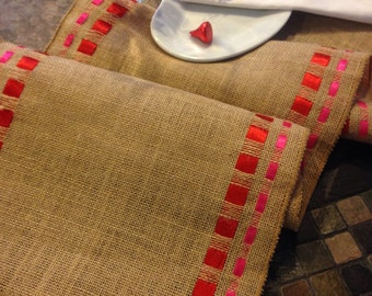 """BURLAP and Double Ribbon Table Runner - 12"""" wide by 72"""" long Natural Burlap - Valentine's Day - Wedding or Party -  burlap runners"""