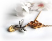 Citrine necklace, November birthstone, gemstone lariat necklace, honey bee necklace with eco frinedly upcycled findings