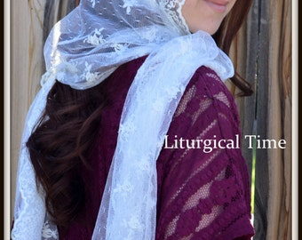 Catholic Chapel Veil, Orthodox Headcovering-  RCVM5 - Large Rectangular Head Covering in Embroidered Ivory Lace