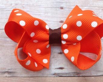 Orange & brown polka dot  bow - orange polka dot hair bow, 3 inch bow, fall bow