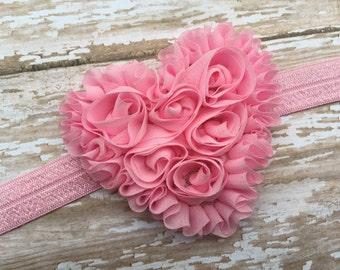 Shabby chic pink heart headband, Valentines Day headband, baby headband, baby headband bows, baby girl headbands, pink baby headband