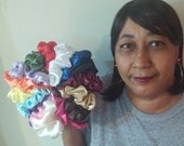 Bag Of 22 Satin Scrunchies -  22 Assorted Colors - 3 Sizes
