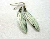 Spring Green Fairy Wing Earrings, glitter, magical, ethereal, sparkle, cyrstal, butterfly, cicada, fairytale, romantic,