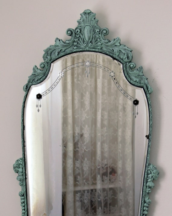 Antique Etched Mirror Aqua Victorian Mirror Carved Wood