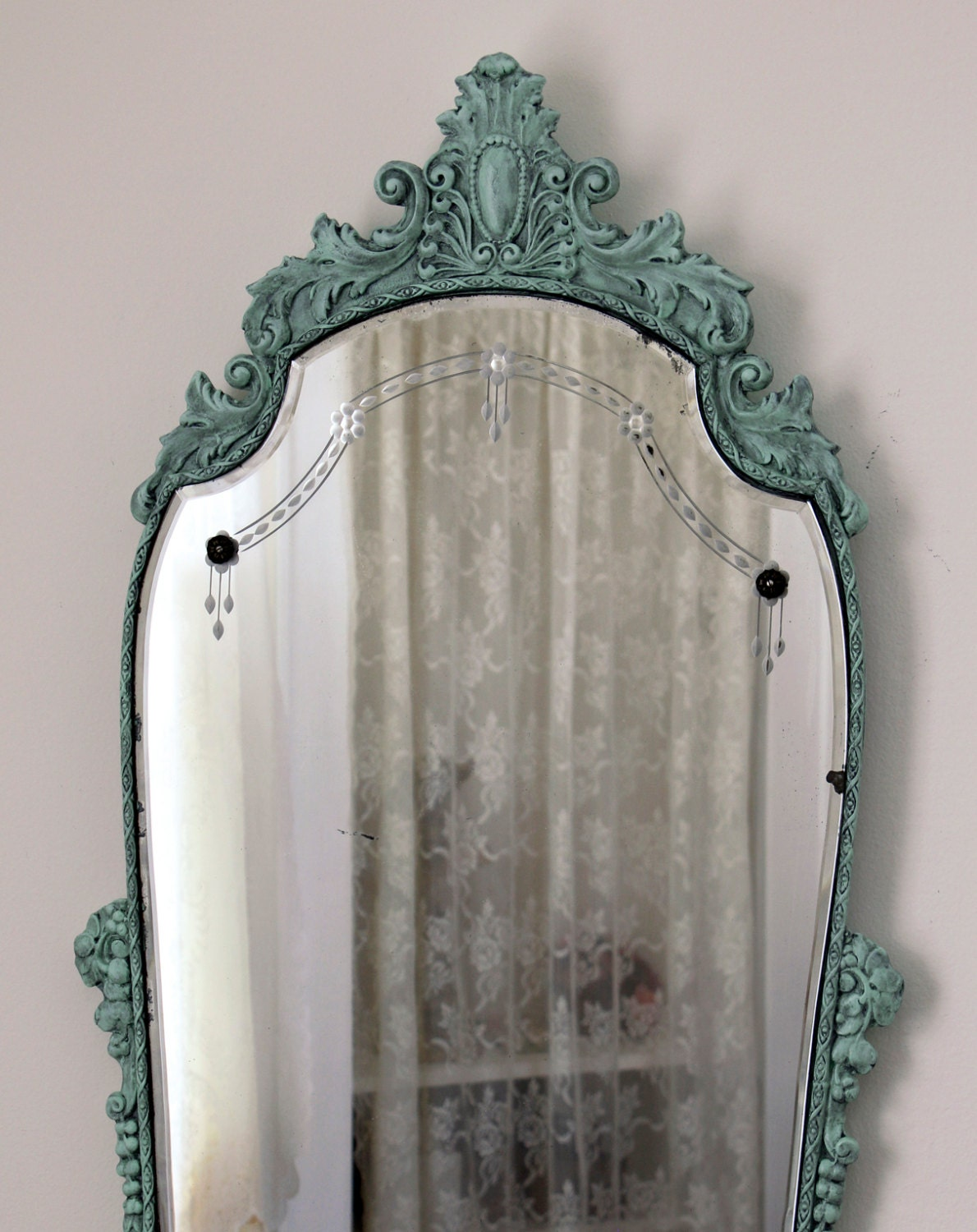 Antique etched mirror aqua victorian mirror carved wood for Victorian mirror