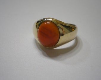 Vintage 10 kt Yellow Gold Carnelian Cabochon Mans Band Ring Size 9