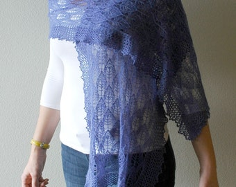 Victorian lace shawl hand knitted in a periwinkle alpaca silk blend.