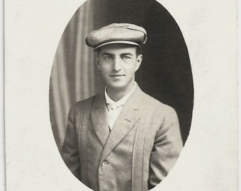 Old Photo Man wearing Jacket and Hat 1910s Photograph snapshot vintage