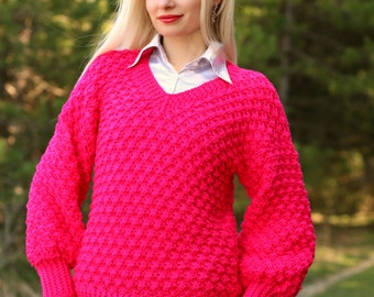Made to order hand knitted sweater in neon pink, soft hand knit jumper by SuperTanya
