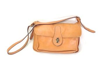 Leather Messenger Bag - Camel Leather Satchel - Tan Leather Crossbody Satchel - Small Leather Messenger