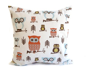 Pillow, Owl Pillow, Throw Pillow, Cushion Cover, Rust, Natural, and Smokey Blue Hootie Owl home decor
