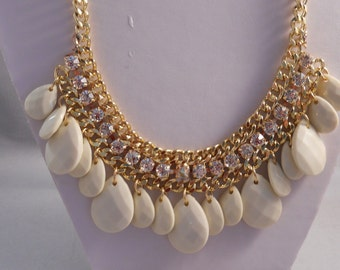 Silver Tone Chain Bib Necklace with Clear Rhinestones and Cream Color Teardrop Pendants