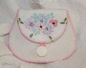 Coin Purse Hand Stitched from embroidered recycled linen by Lynwoodcrafts