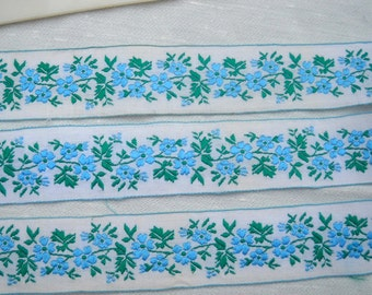 NEW PRICE--Funky Retro Trim, Wonderful Design, 1970s, Blue and Green Floral, Per Yard, Five Yards Available