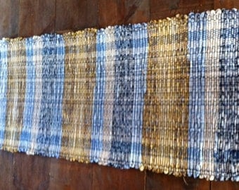 100% cotton, 8/4 poly cotton rug warp, blue & gold colors, hand woven, rag rug