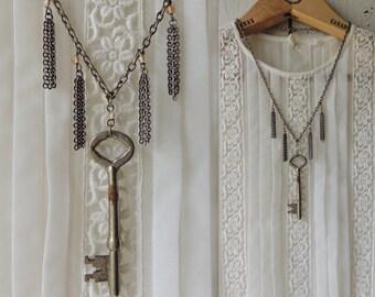 Skeleton Key Necklace / Bohemian Chic Necklace / Boho Necklace / Gypsy Necklace/ Tassel/Fringe/Victorian Necklace /Upcycled Vintage Jewlelry