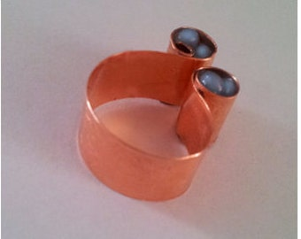 Statement ring wide band solid copper and resin Unique Ring adjustable rings