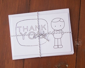 """Kid's """"Thank You"""" Card: Fill in and color // Set of 8 with envelopes"""