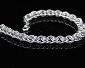 Silver Chainmaille Bracelet, Viper Basket Weave