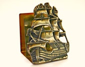 Vintage Brass Ship Letter Rack Holder