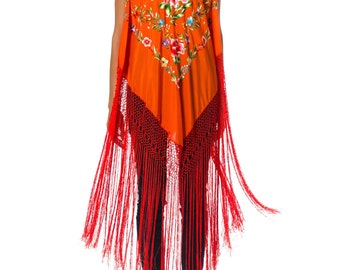 1970s Vintage Amazing Bright Red Fringe Orange Poncho with Floral Embroidery   One  Size