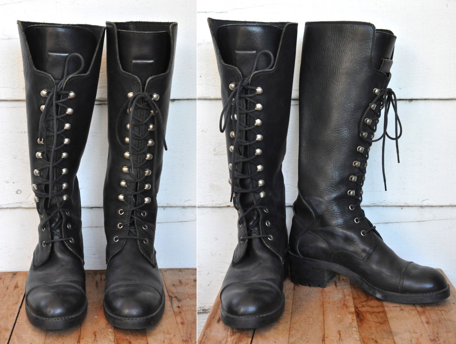 Joan & David COMBAT Boots Lace Up Boots Tall Knee High Black