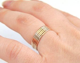 Gold Stacking Rings, Goldfill Stacking Rings, 14k Gold Stacking Rings, Rose Gold Rings, Yellow Gold Rings, White Gold Rings, Stackable Rings