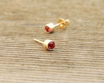 Ruby Stud Earrings - Natural Tiny Ruby Stud Earrings, Gold Ruby Studs, Gold Ruby Earrings, Silver Ruby Studs, Silver Ruby Earrings, Handmade