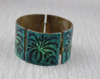 1970s Green Enamel on Brass Bracelet Leaf Design