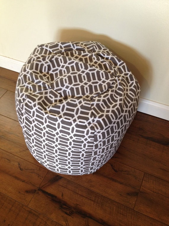 bean bag chair small ottoman grey white by everbellemkids. Black Bedroom Furniture Sets. Home Design Ideas