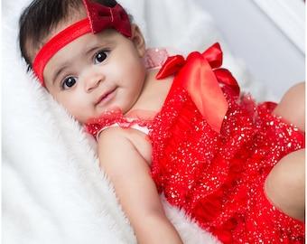 Red Glitter Romper and Matching Headband